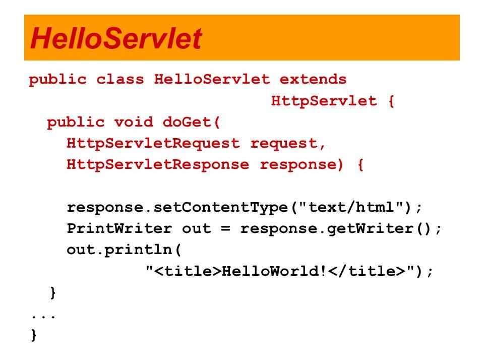 HelloServlet public class HelloServlet extends HttpServlet {