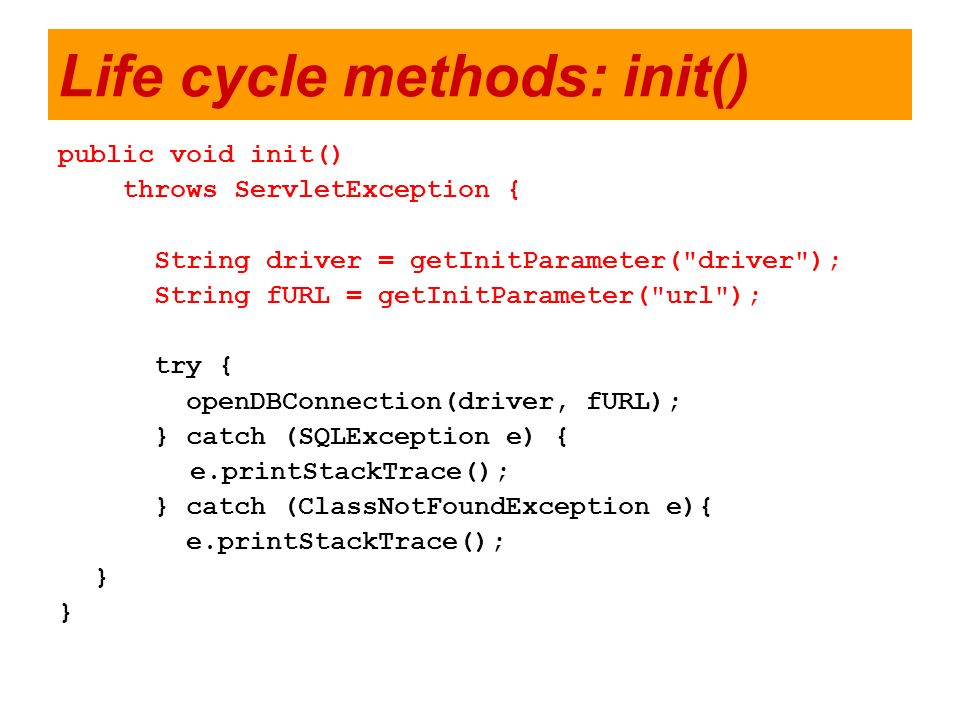 Life cycle methods: init()