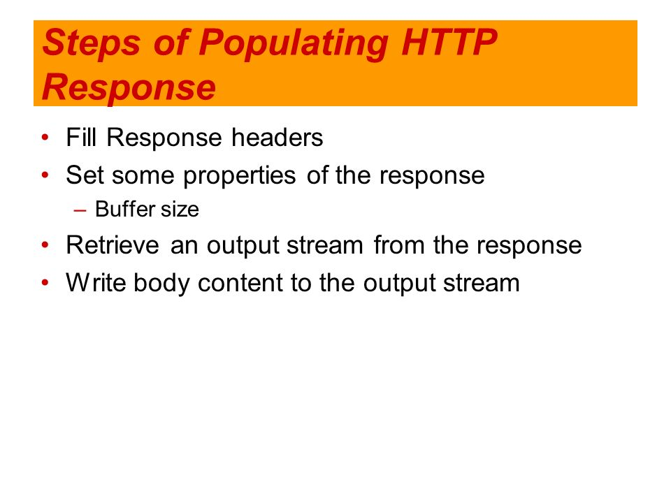 Steps of Populating HTTP Response