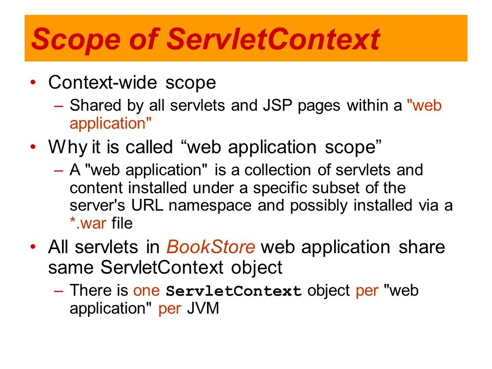 Scope of ServletContext