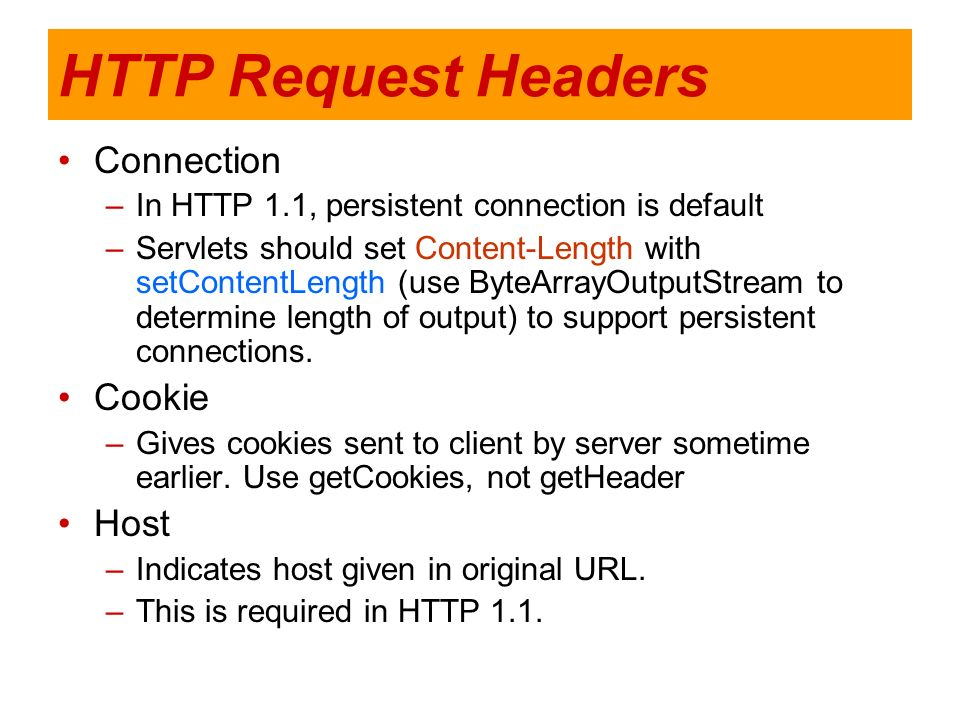HTTP Request Headers Connection Cookie Host