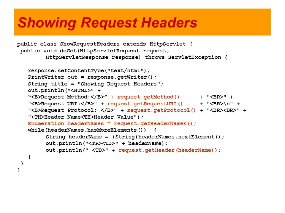 Showing Request Headers