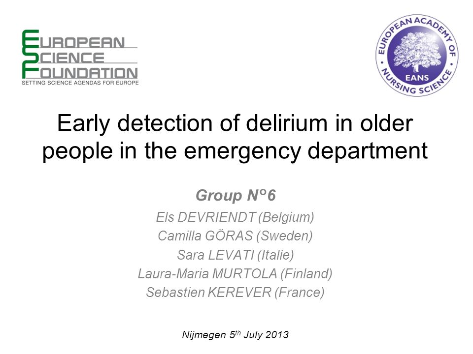 Early detection of delirium in older people in the emergency department