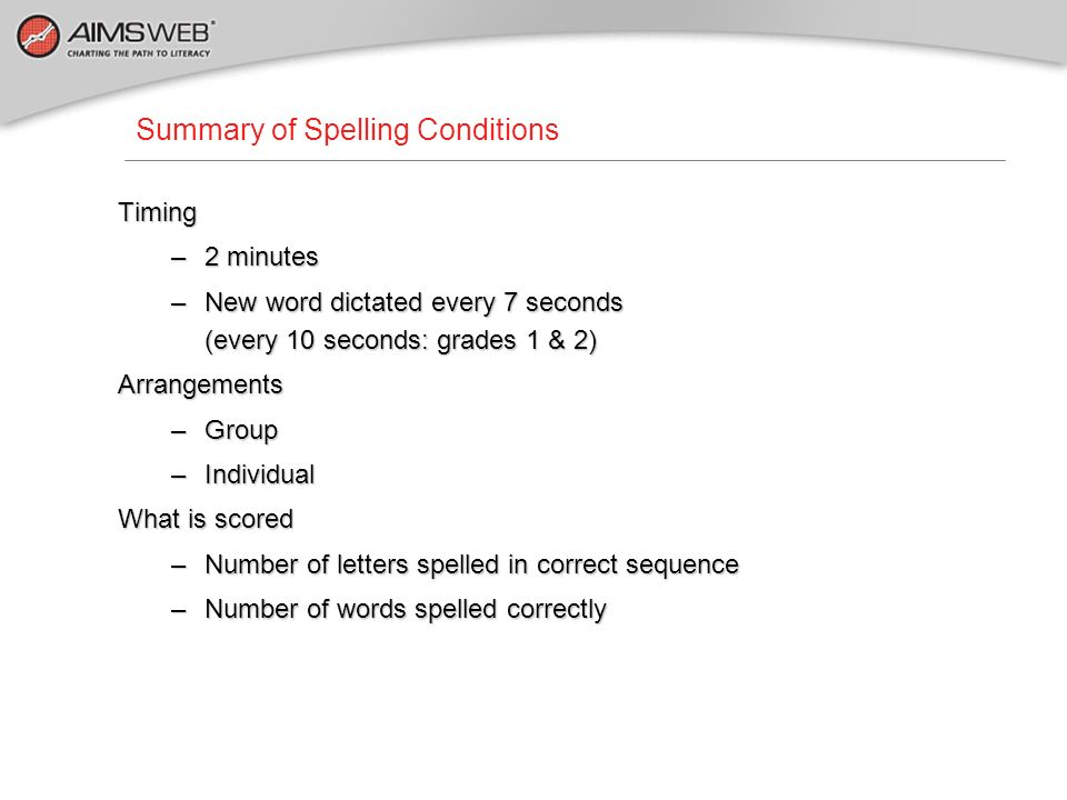 Summary of Spelling Conditions