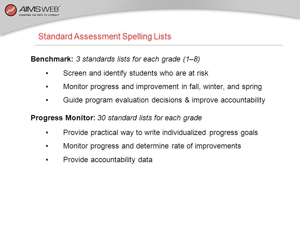 Standard Assessment Spelling Lists