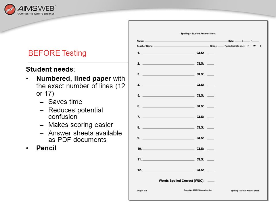 BEFORE Testing Student needs:
