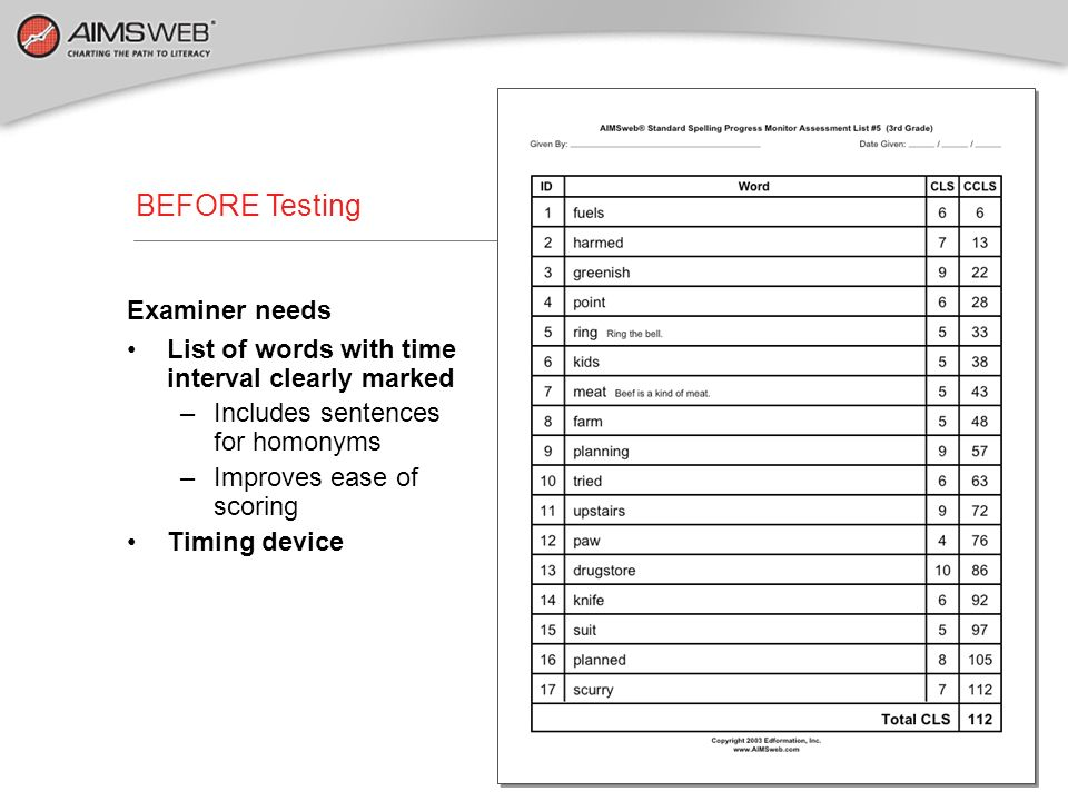 BEFORE Testing Examiner needs