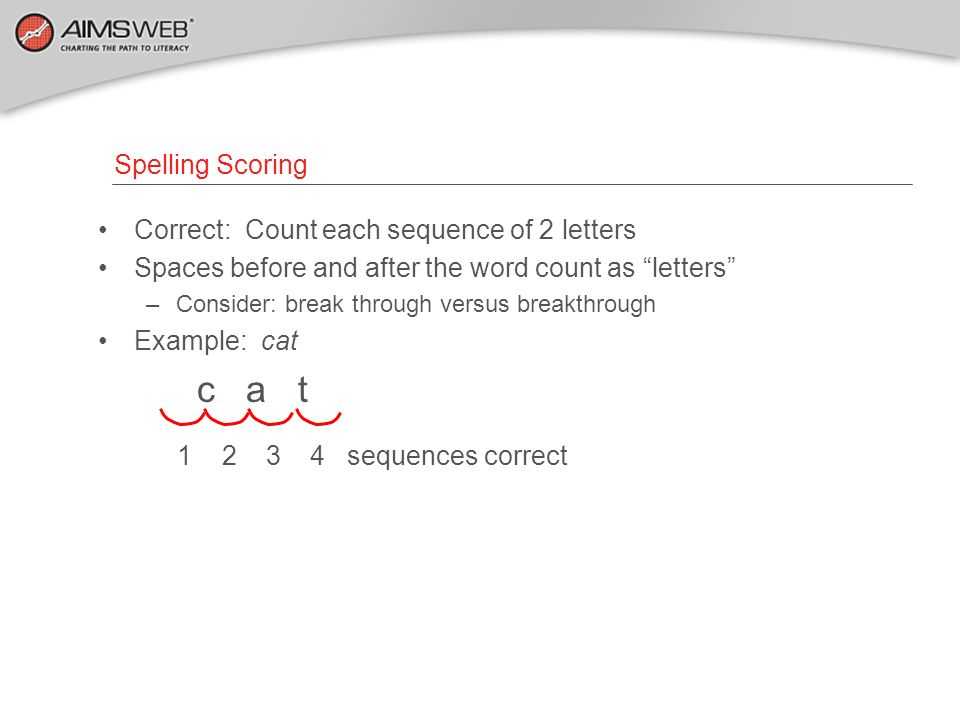c a t 1 2 3 4 sequences correct Spelling Scoring