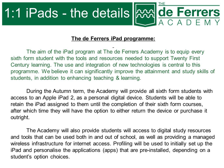 The de Ferrers iPad programme: