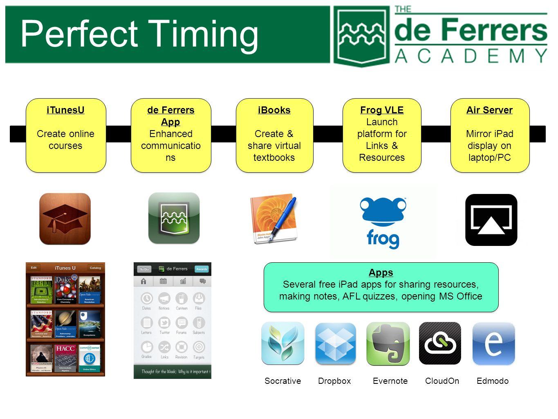 Perfect Timing iTunesU Create online courses de Ferrers App