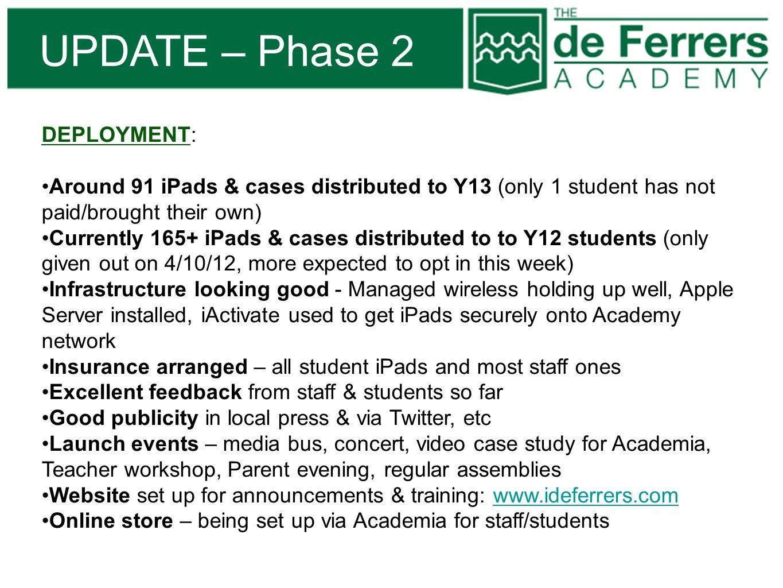 UPDATE – Phase 2 DEPLOYMENT: