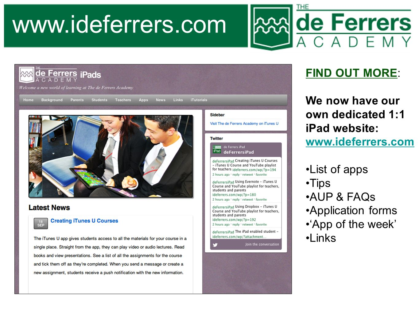 www.ideferrers.com FIND OUT MORE: