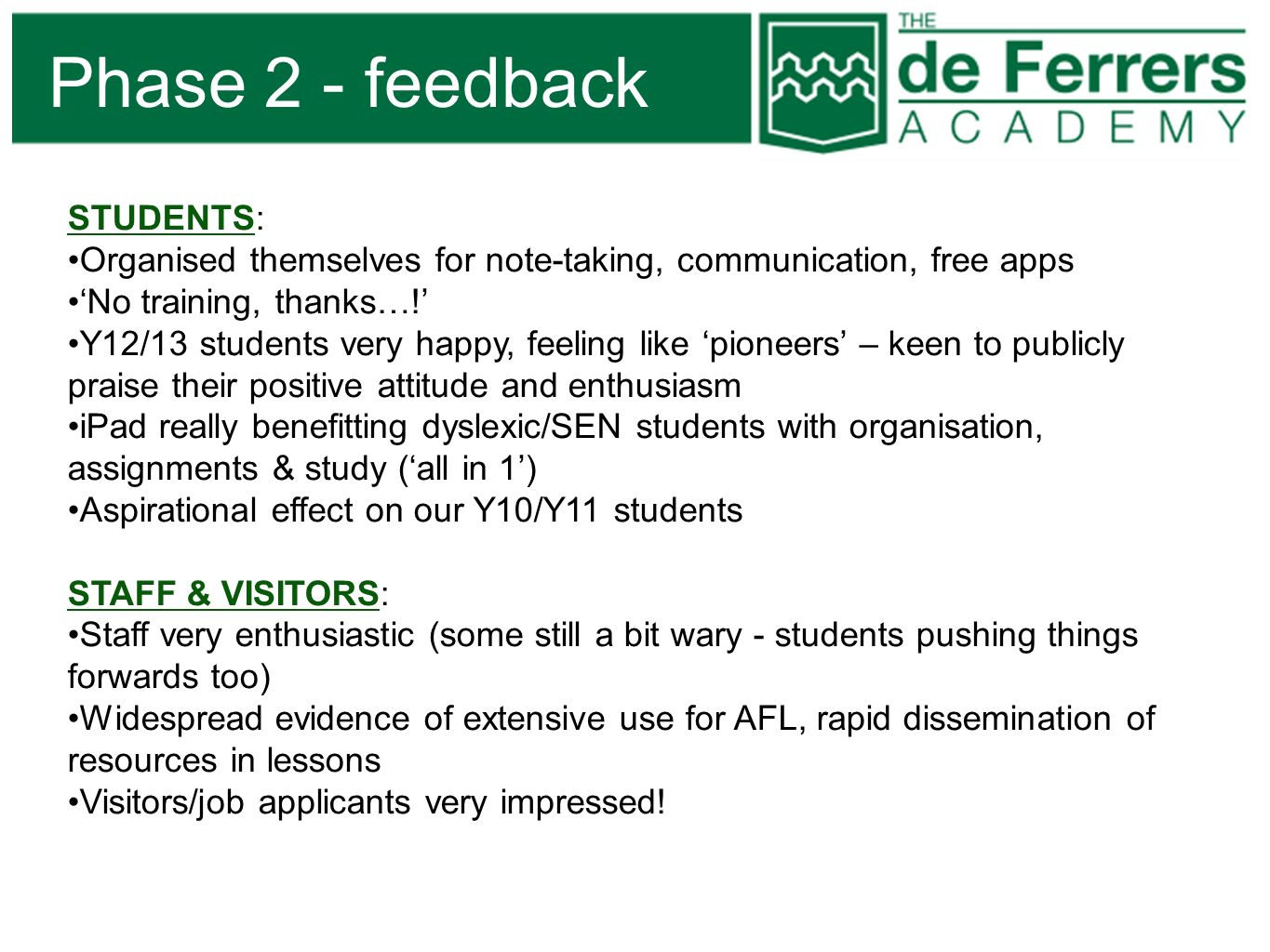 Phase 2 - feedback STUDENTS: