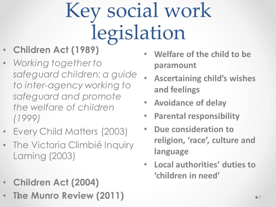 Key social work legislation