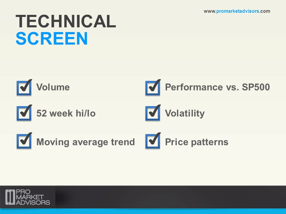TECHNICAL SCREEN ✔ ✔ ✔ ✔ ✔ ✔ Volume Performance vs. SP500