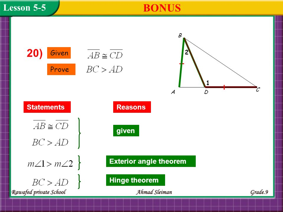 BONUS 20) Lesson 5-5 Given Prove Statements Reasons given