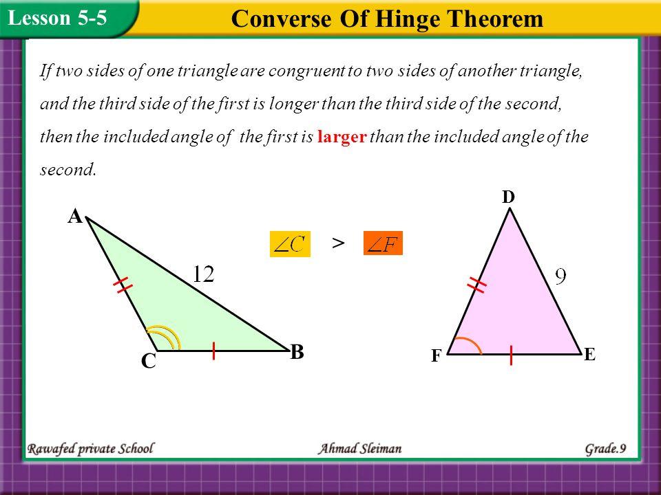 Converse Of Hinge Theorem