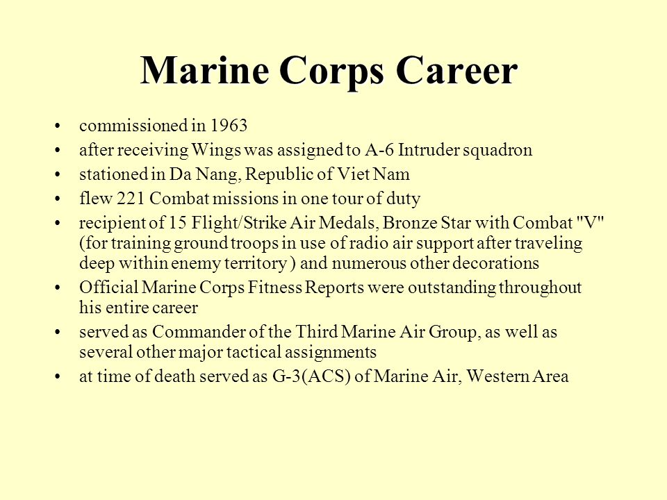 Marine Corps Career commissioned in 1963