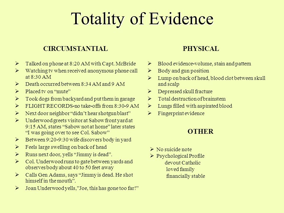 Totality of Evidence CIRCUMSTANTIAL PHYSICAL OTHER