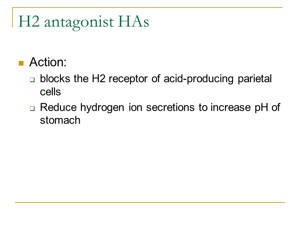 H2 antagonist HAs Action: