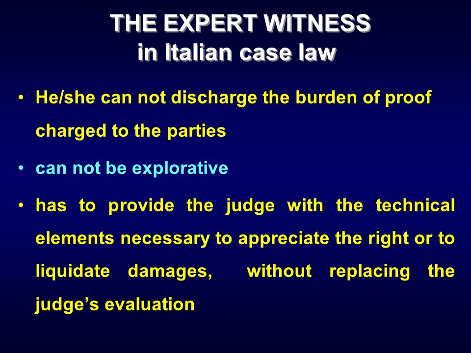 THE EXPERT WITNESS in Italian case law