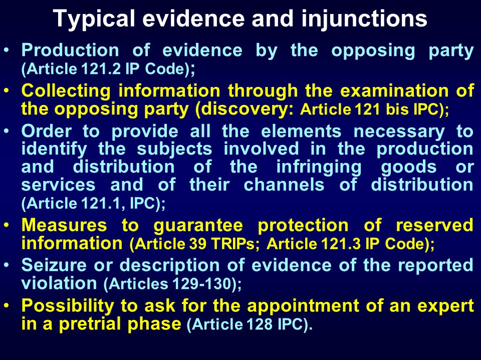Typical evidence and injunctions