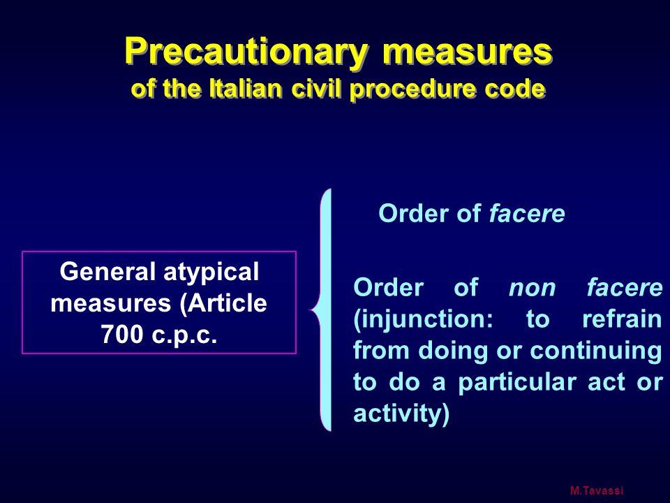 Precautionary measures of the Italian civil procedure code