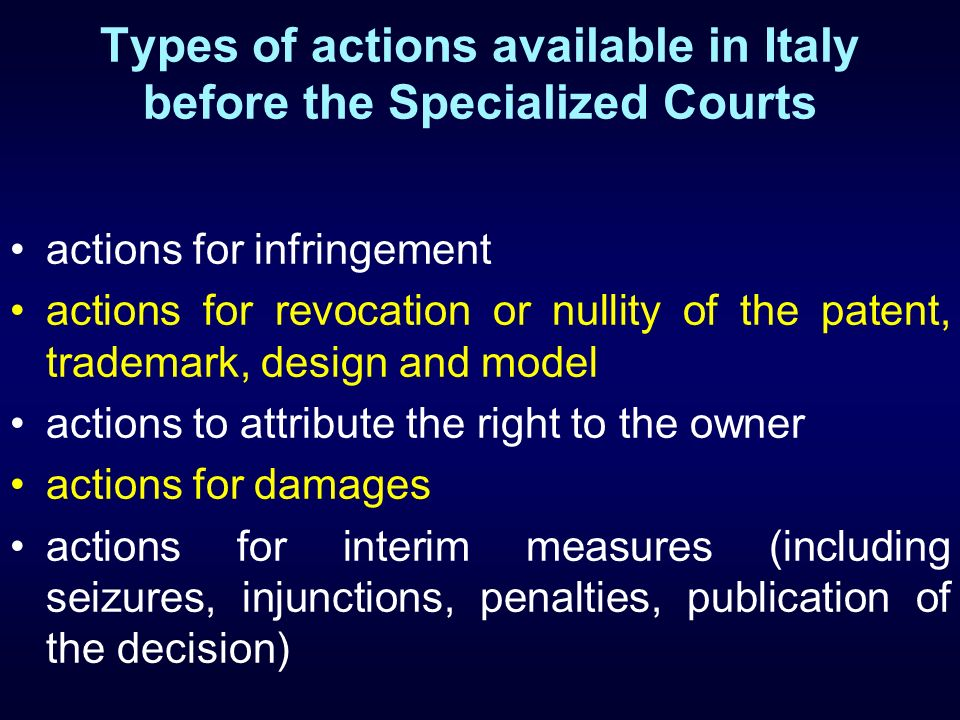 Types of actions available in Italy before the Specialized Courts