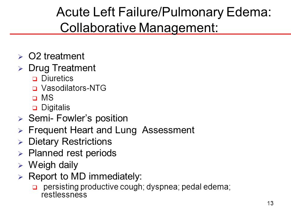 Acute Left Failure/Pulmonary Edema: Collaborative Management: