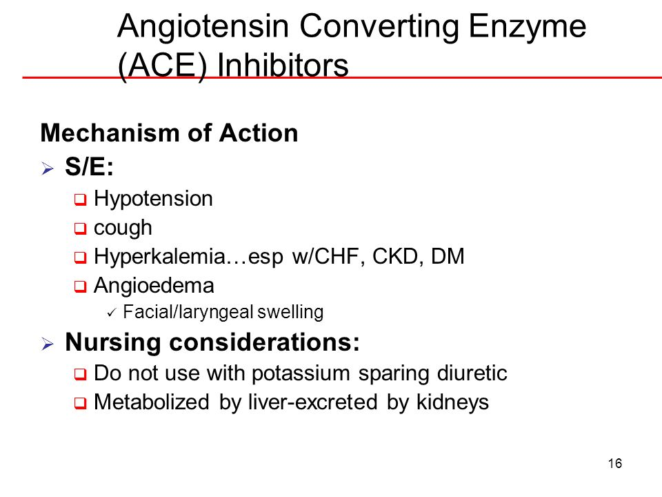 Angiotensin Converting Enzyme (ACE) Inhibitors
