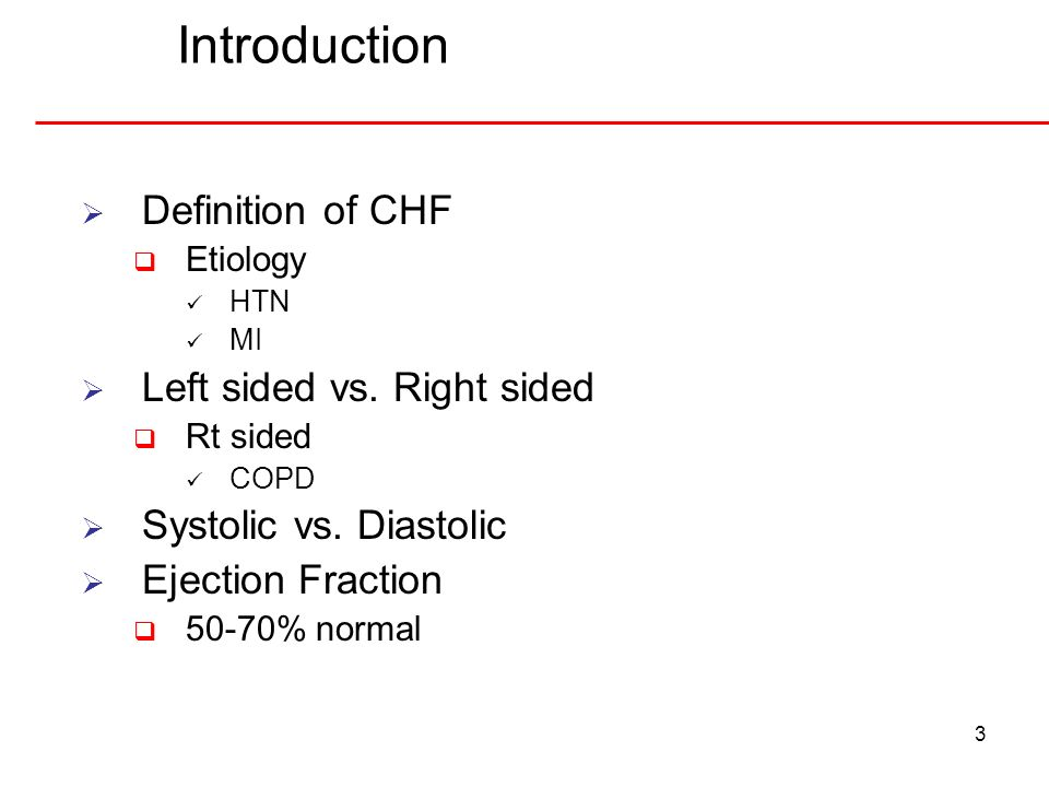 Introduction Definition of CHF Left sided vs. Right sided