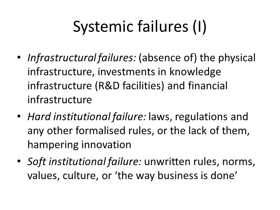 Systemic failures (I)