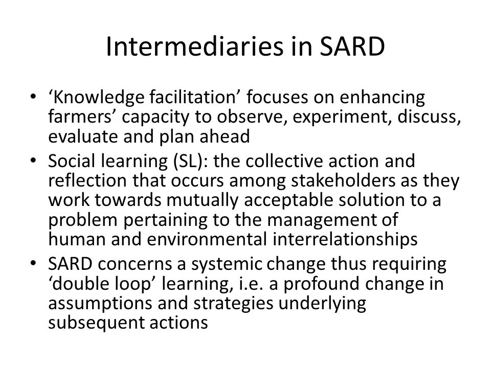 Intermediaries in SARD