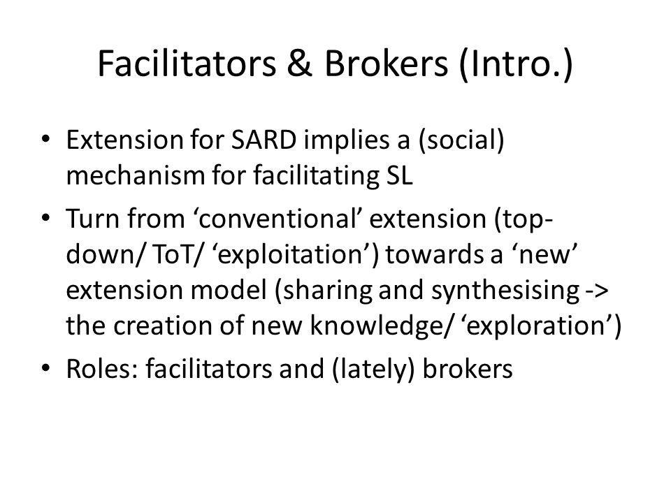 Facilitators & Brokers (Intro.)
