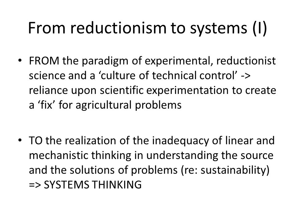 From reductionism to systems (I)