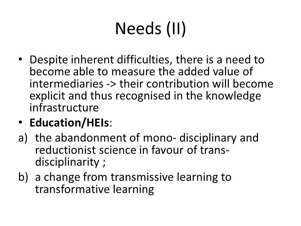 Needs (II)