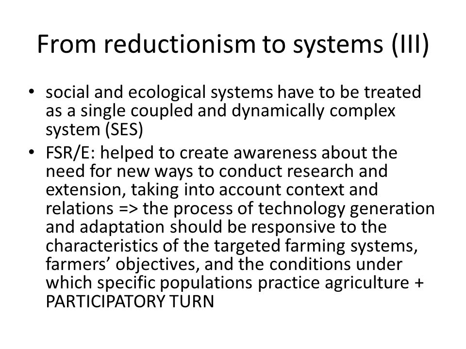 From reductionism to systems (III)