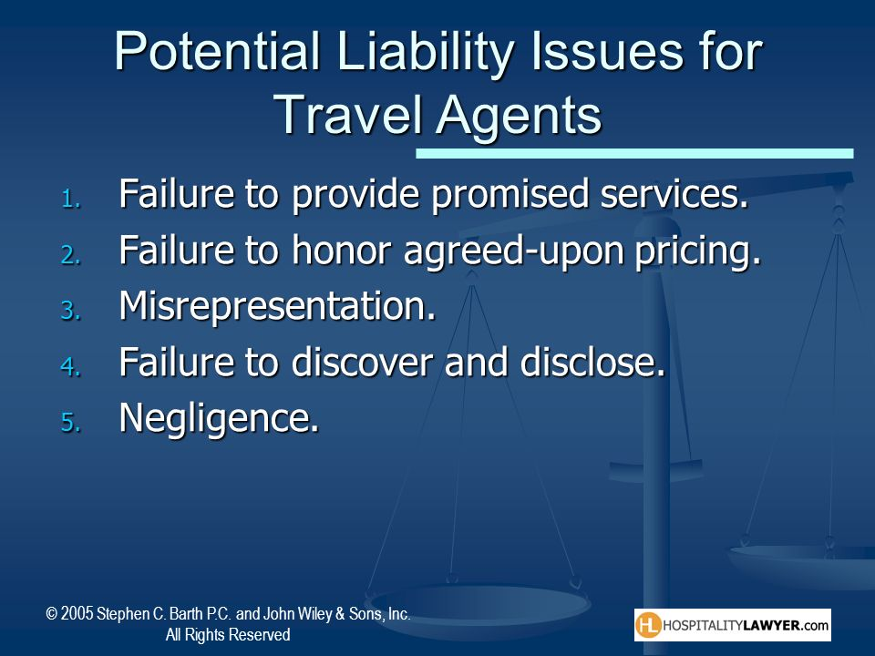 Potential Liability Issues for Travel Agents