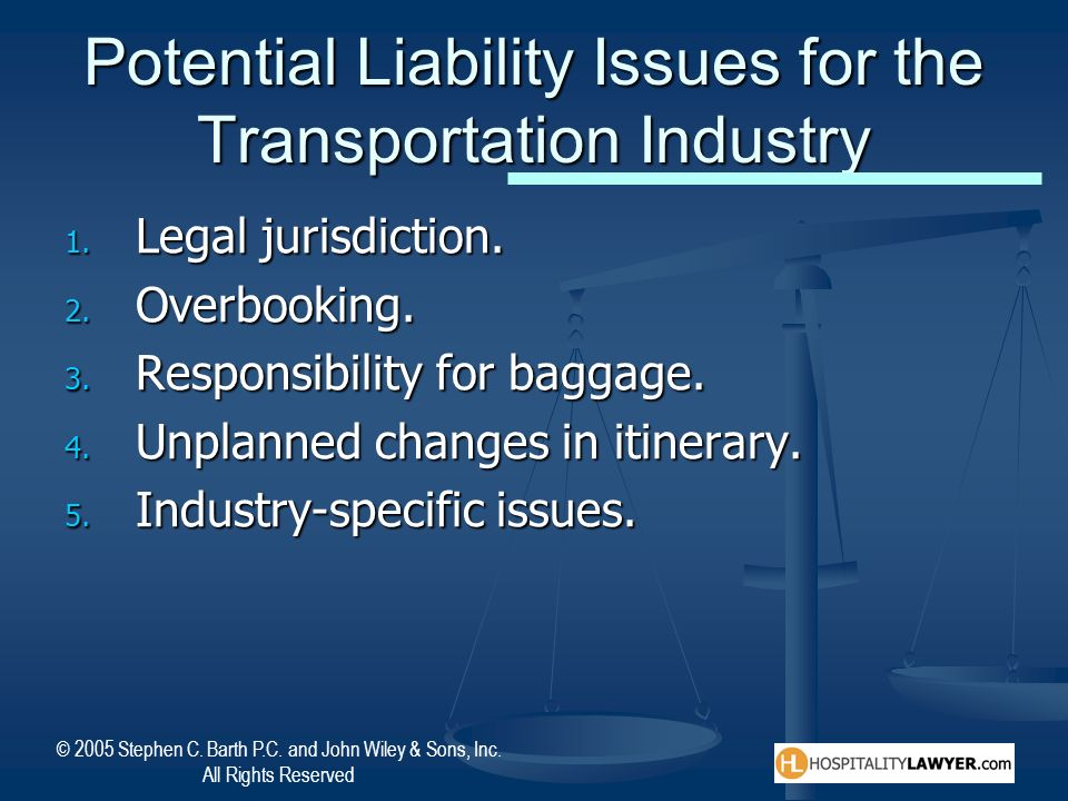 Potential Liability Issues for the Transportation Industry