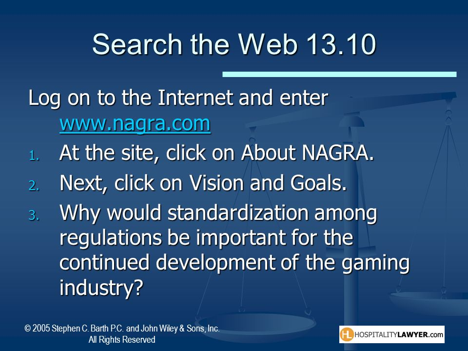 Search the Web 13.10 Log on to the Internet and enter www.nagra.com