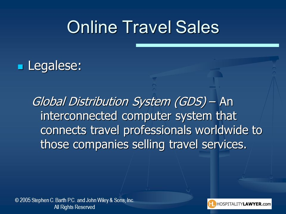 Online Travel Sales Legalese: