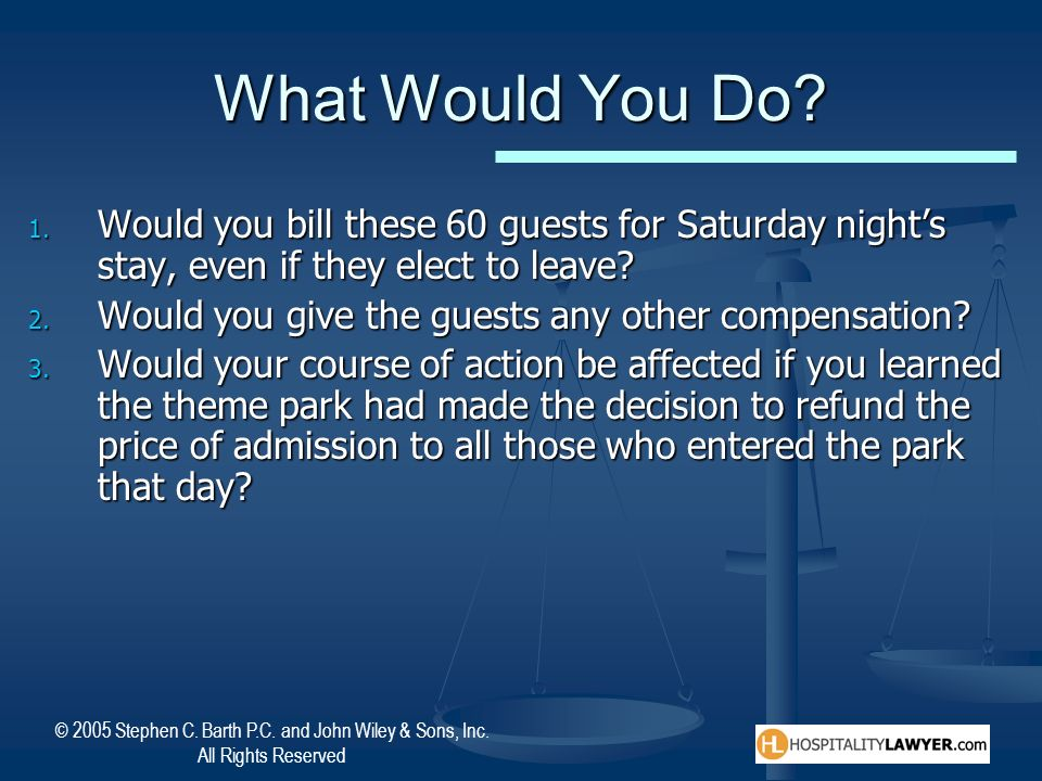 What Would You Do Would you bill these 60 guests for Saturday night's stay, even if they elect to leave