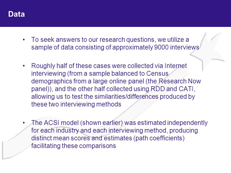 Data To seek answers to our research questions, we utilize a sample of data consisting of approximately 9000 interviews.