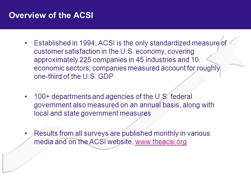 Overview of the ACSI