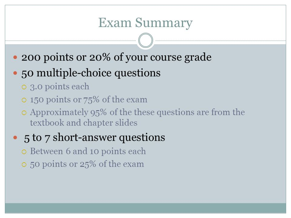 Exam Summary 200 points or 20% of your course grade