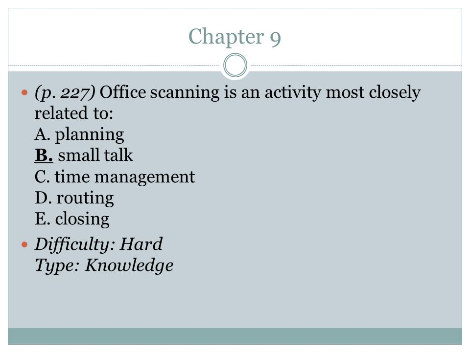 Chapter 9 (p. 227) Office scanning is an activity most closely related to: A. planning B. small talk C. time management D. routing E. closing.