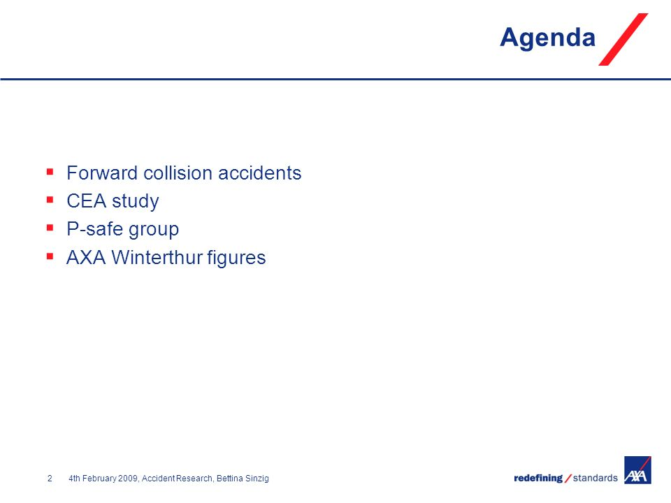 Agenda Forward collision accidents CEA study P-safe group