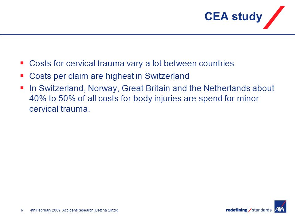 CEA study Costs for cervical trauma vary a lot between countries