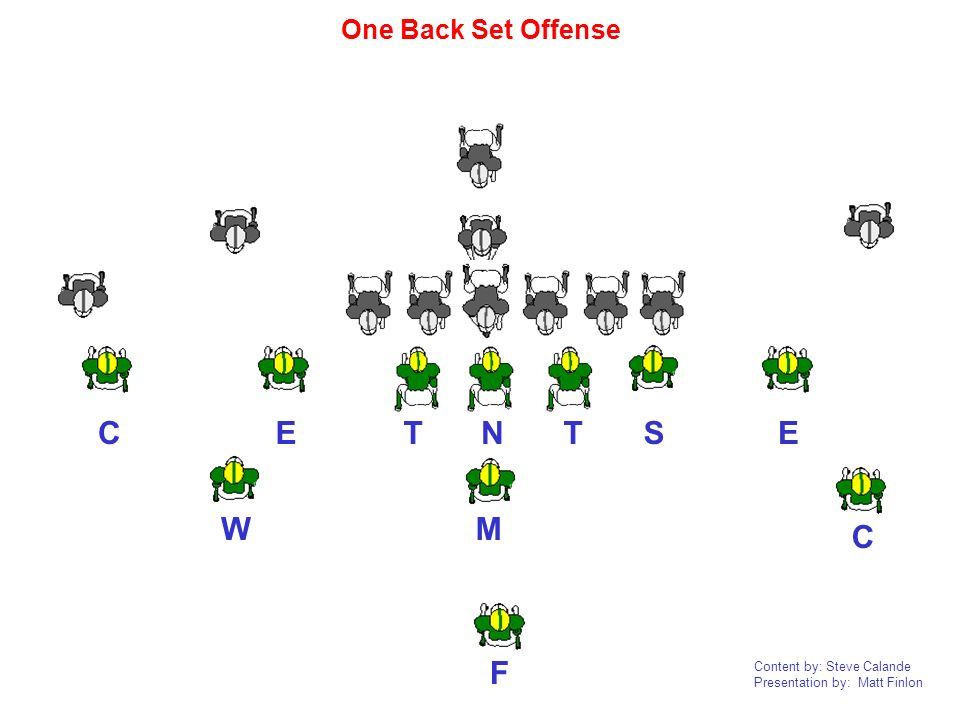 One Back Set Offense C E T N T S E W M C F