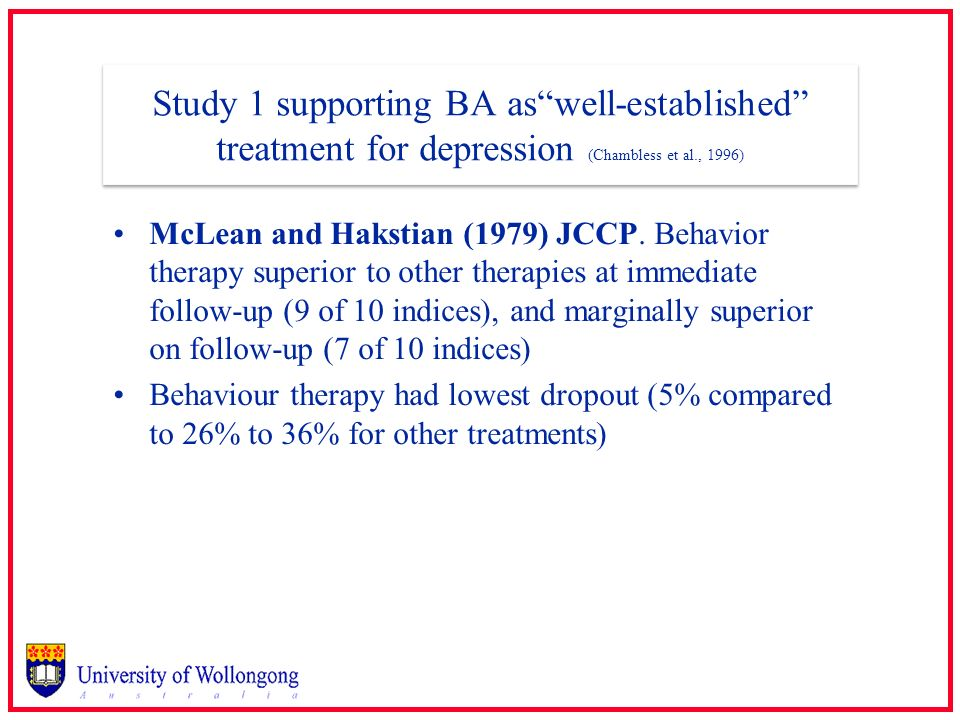 Study 1 supporting BA as well-established treatment for depression (Chambless et al., 1996)